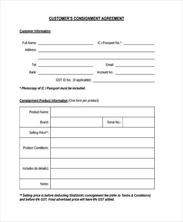 Customer Consignment Agreement Form Sample On Customer Form Sample