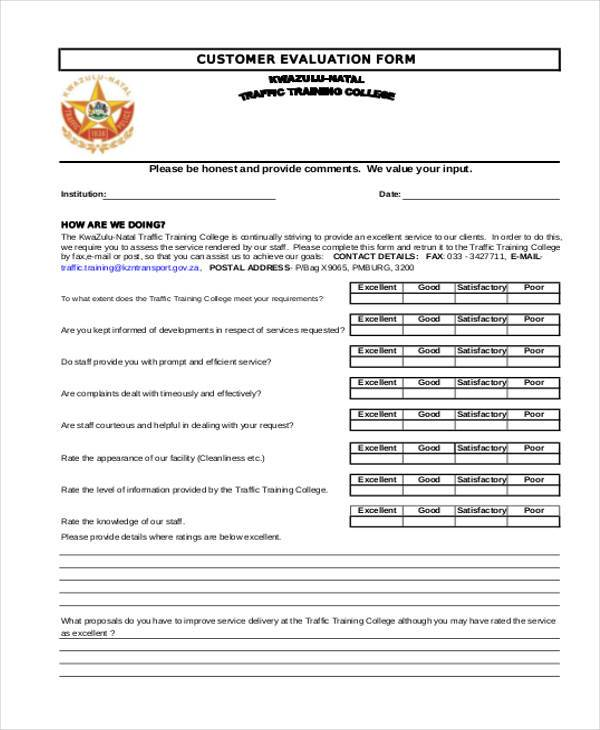 Sample Customer Evaluation Forms   Free Documents In Word Pdf
