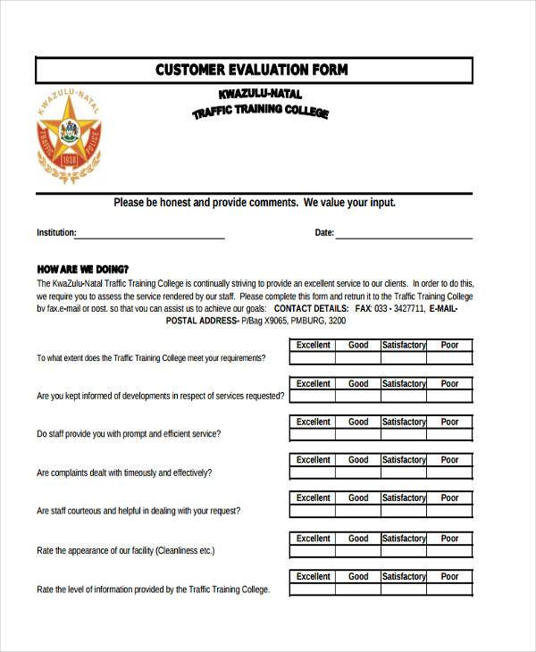 Customer Service Evaluation Form Sample