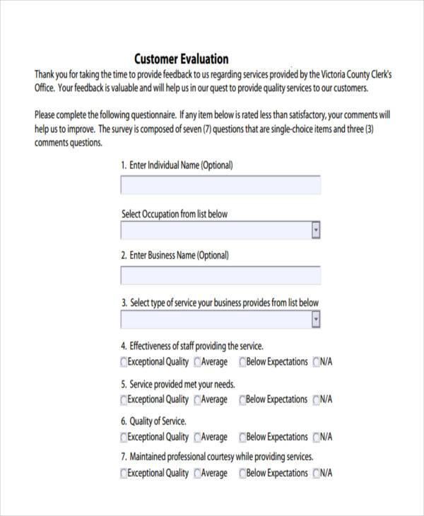 customer evaluation form format