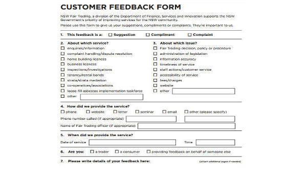 7 Customer Feedback Form Samples Free Sample Example Format Download
