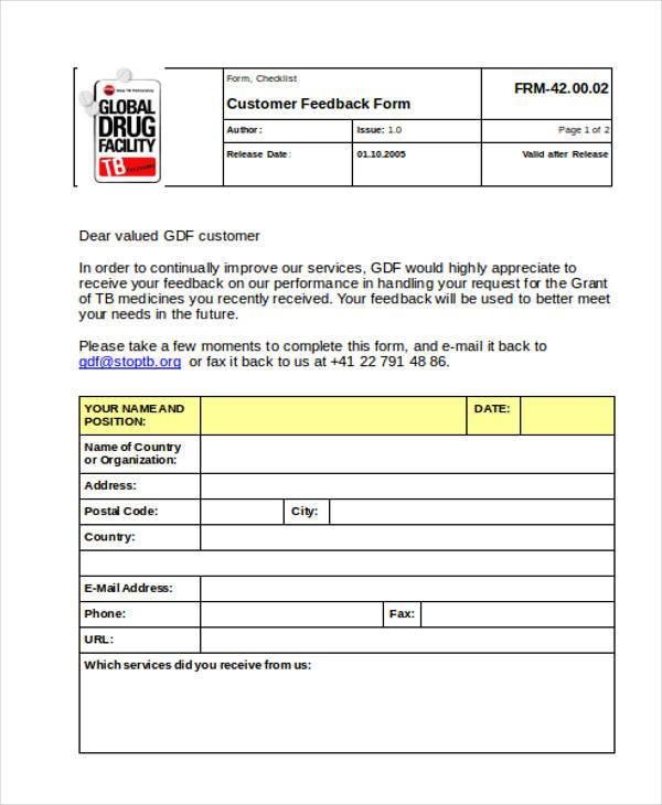 Feedback Form Formats – Client Feedback Form in Word