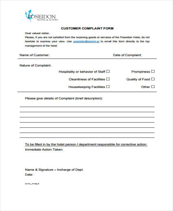 Customer Guest Complaint Form Sample