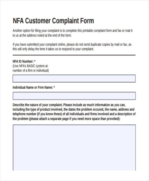 customer product complaint form
