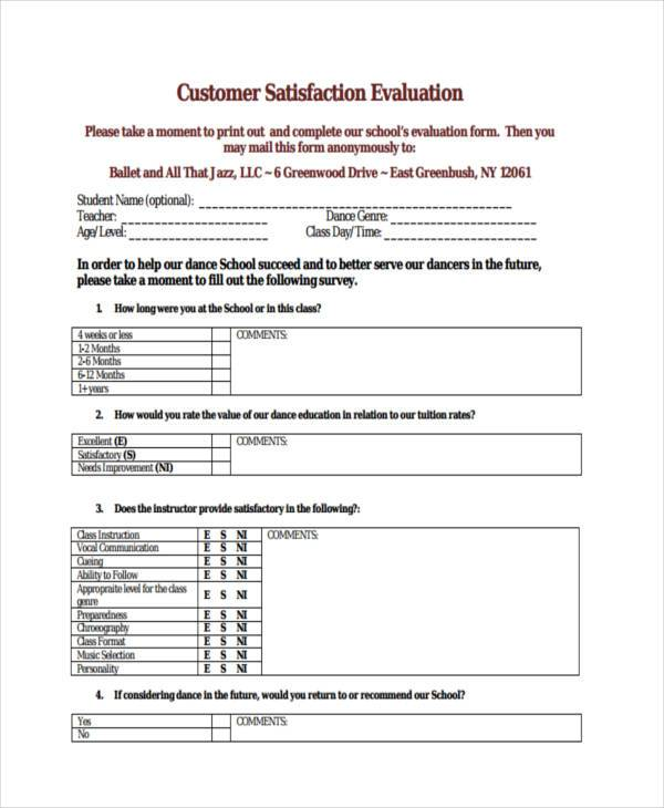 Customer Evaluation Form Samples  Free Sample Example Format