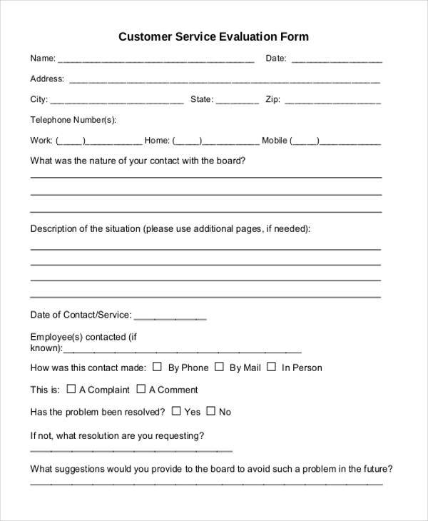 Customer Service Evaluation Form Template