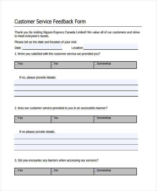 Service Feedback Form Samples  Free Sample Example Format Download