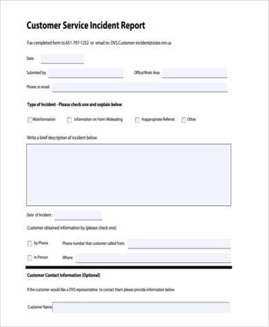 Customer incident report form template 28 images for Technical service report template