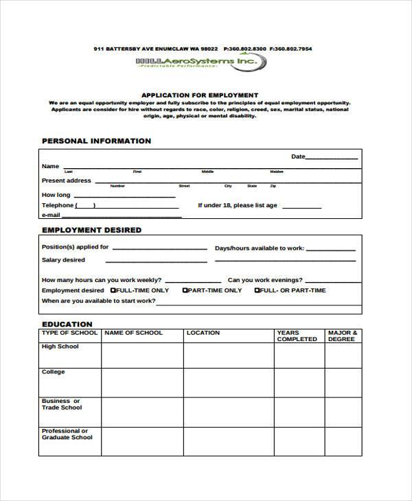 Customizable-Employment-Application-Form-in-PDF Job Application Form In Doc Format on format job resume, format job references, format job descriptions,