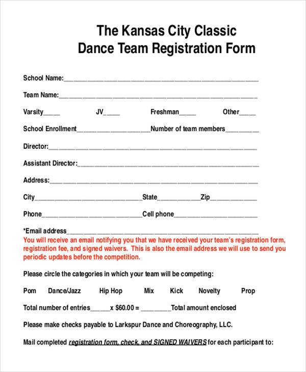 8 team registration form samples free sample example for Sport registration form template