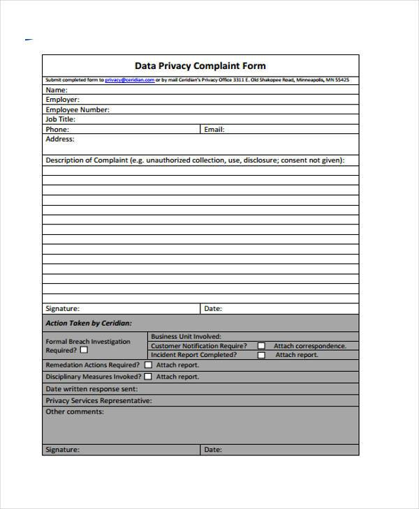 8 Privacy Complaint Form Samples Free Sample Example Format – Customer Complaint Form Examples