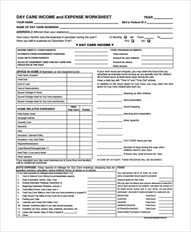 day care budget form1