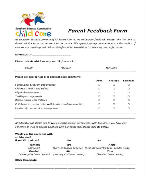 Sample Parent Feedback Forms 8 Free Documents in Word PDF – Meeting Feedback Form Template