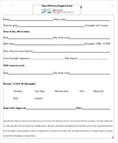Request Off Form Employee Evaluation Form  Employer  Customize