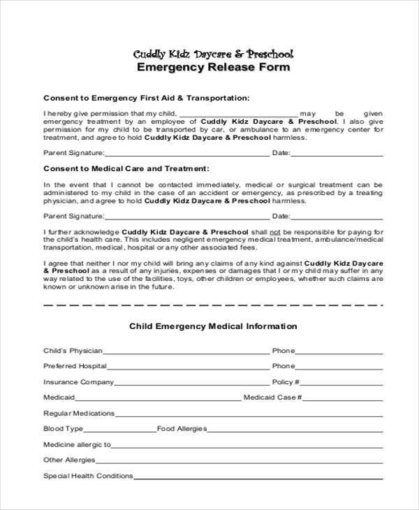 Sample Emergency Release Forms   Free Documents In Pdf