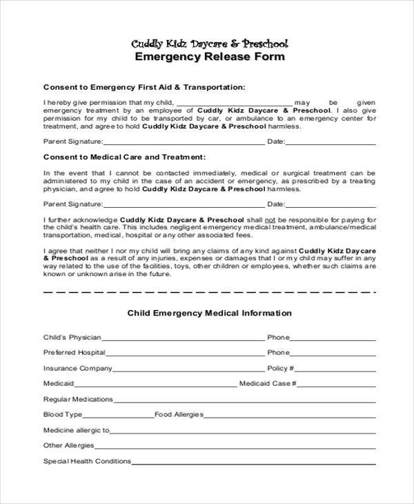 Emergency Release Form Samples  Free Sample Example Format