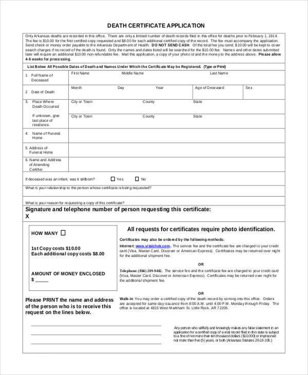 death certificate application form