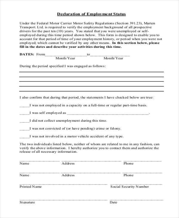 declaration of employment status form
