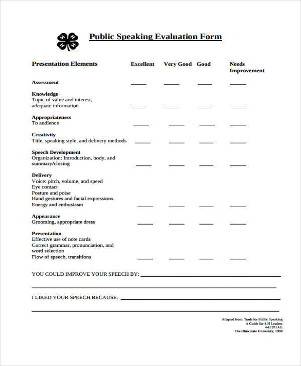 delivery speech evaluation form
