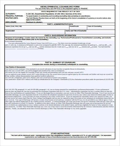 Sample Performance Counseling Forms   Free Documents In Word Pdf