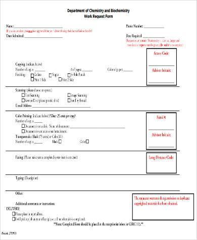 departmental work request form