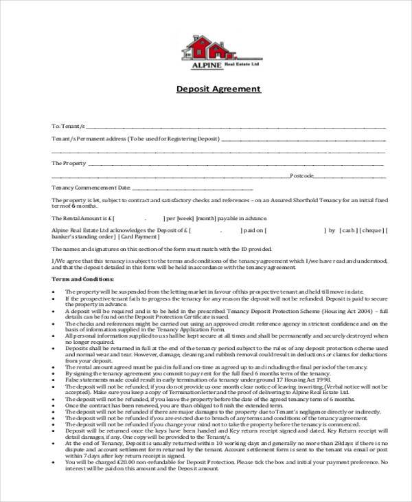 deposit contract form example