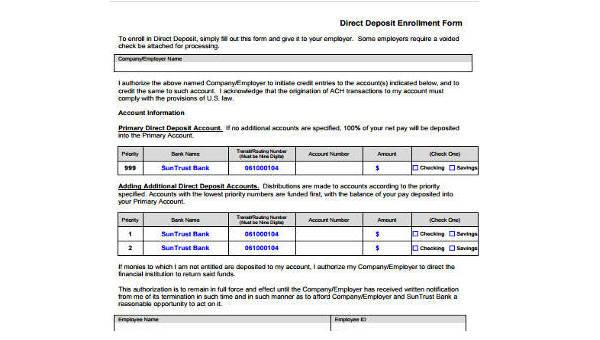 deposit format  FREE 11+ Deposit Form Samples in Sample, Example, Format