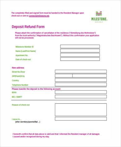 deposit refund form in pdf