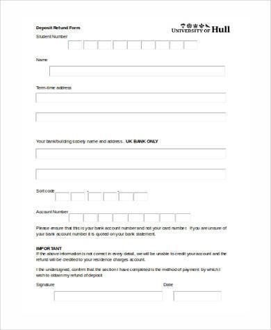 deposit refund form in word format