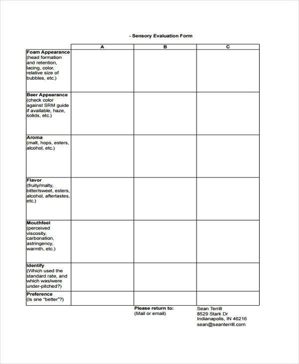 free 8  sensory evaluation forms in pdf