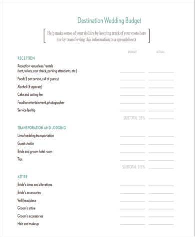 destination wedding budget form