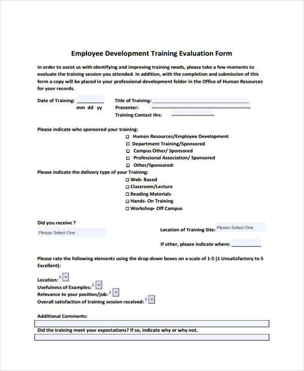 development training evaluation form
