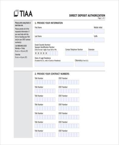 Sample Direct Deposit Authorization Forms   Free Documents In