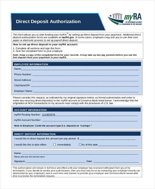 direct deposit authorization form pdf