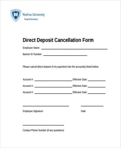 direct deposit cancellation form example