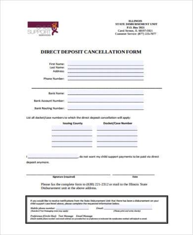 direct deposit cancellation form in pdf1
