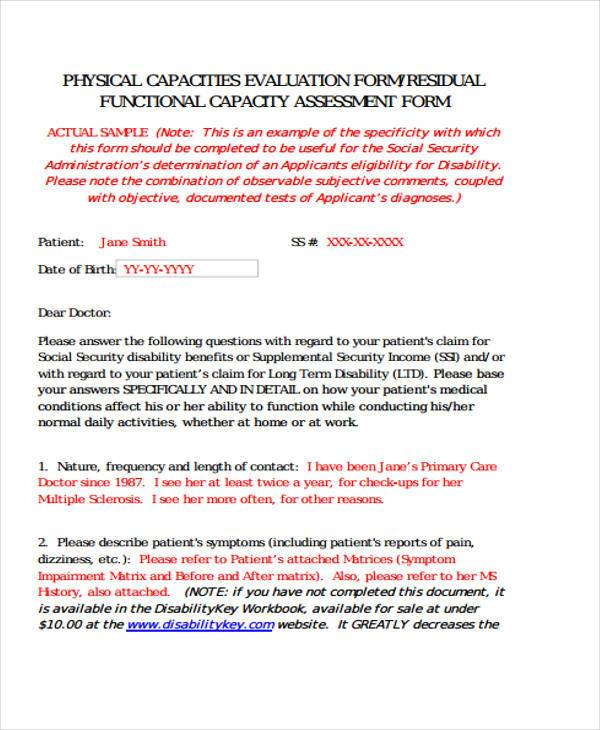 Functional Capacity Evaluation Form Samples  Free Sample