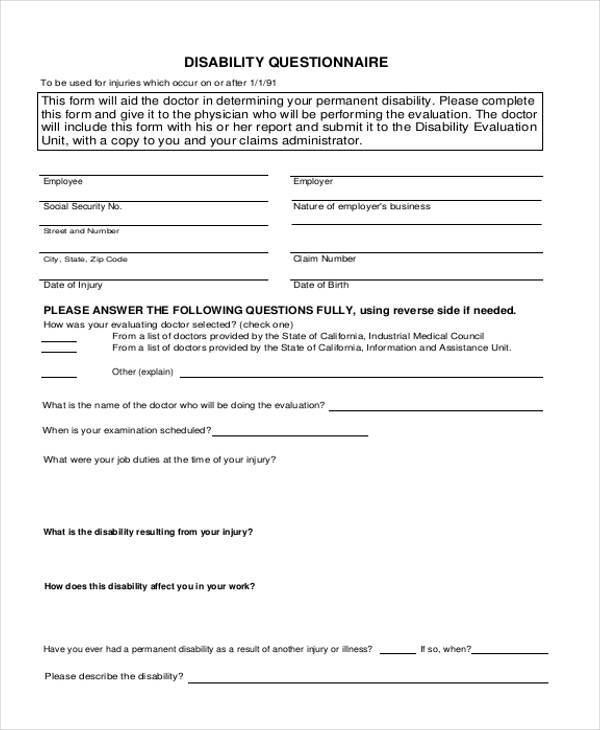 Sample Disability Questionnaire Forms   Free Documents In Word Pdf