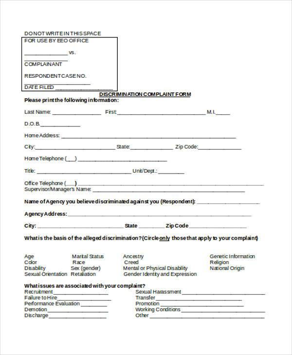 discrimination complaint form in doc
