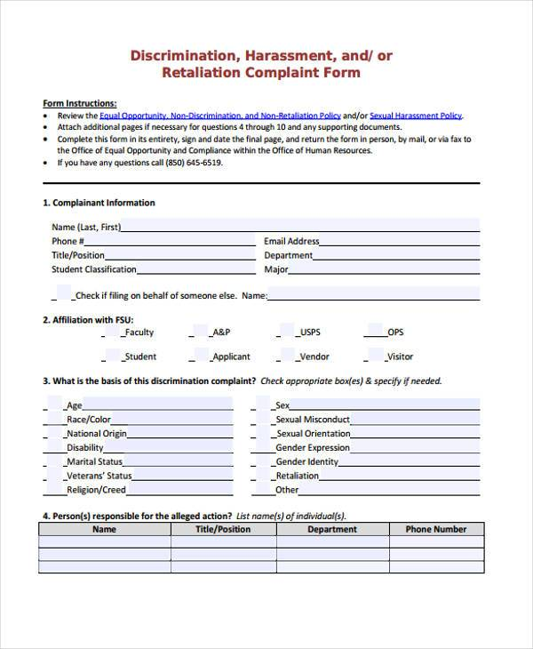 discrimination harassment complaint form