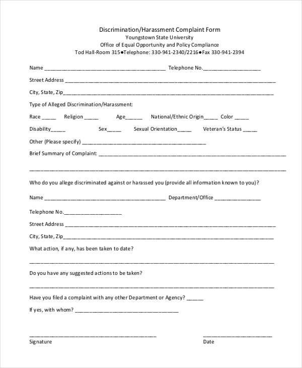 Sample Discrimination Complaint Forms   Free Documents In Word Pdf