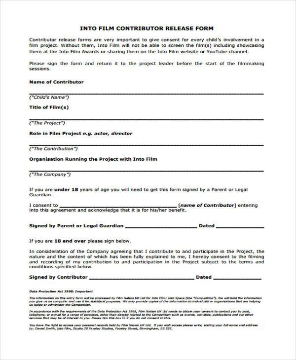 documentary film release form
