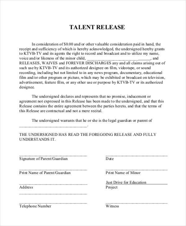 documentary talent release form