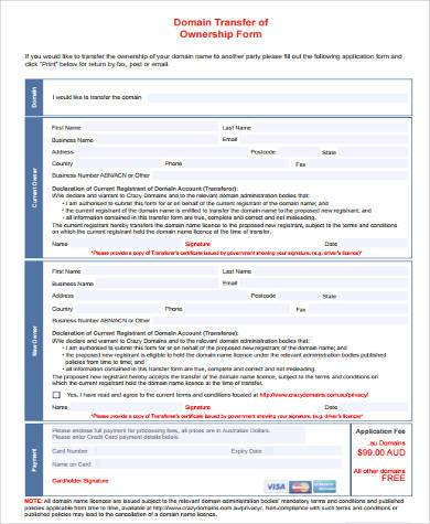 domain transfer of ownership form
