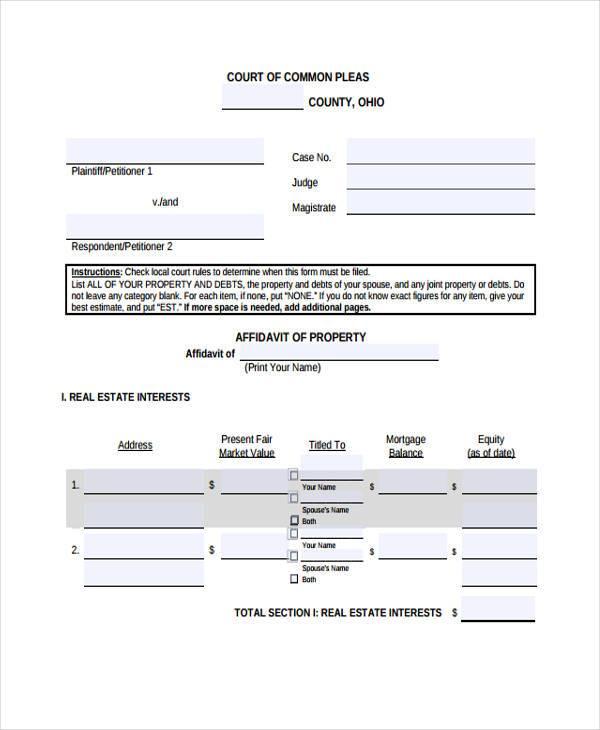domestic relations affidavit short form