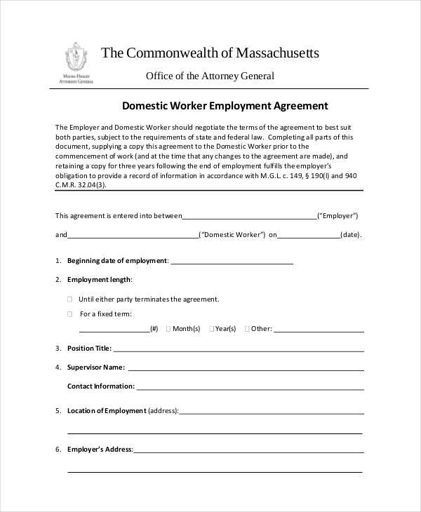 free 9  employment agreement forms in pdf