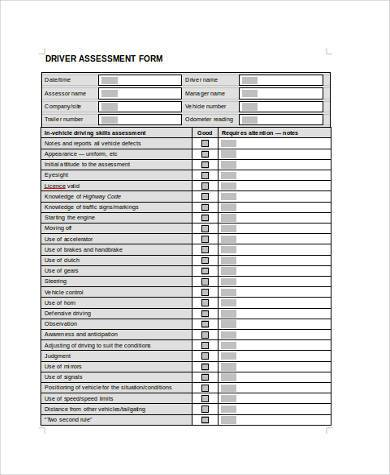 driver assessment form in doc