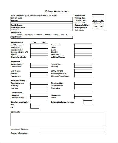 driver assessment form in pdf