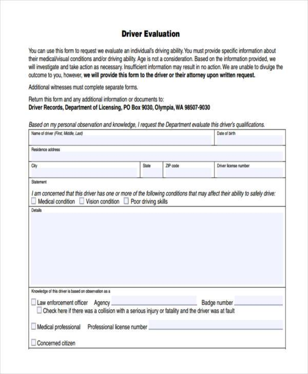 driver evaluation form example
