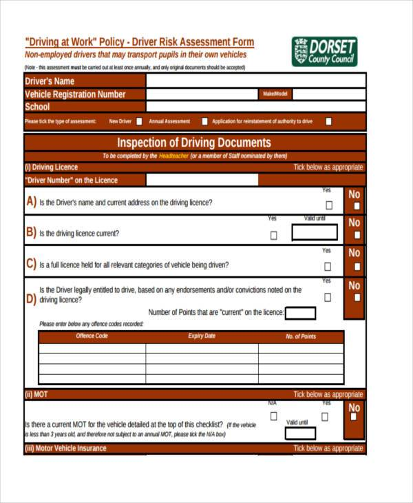 driver risk assessment form1